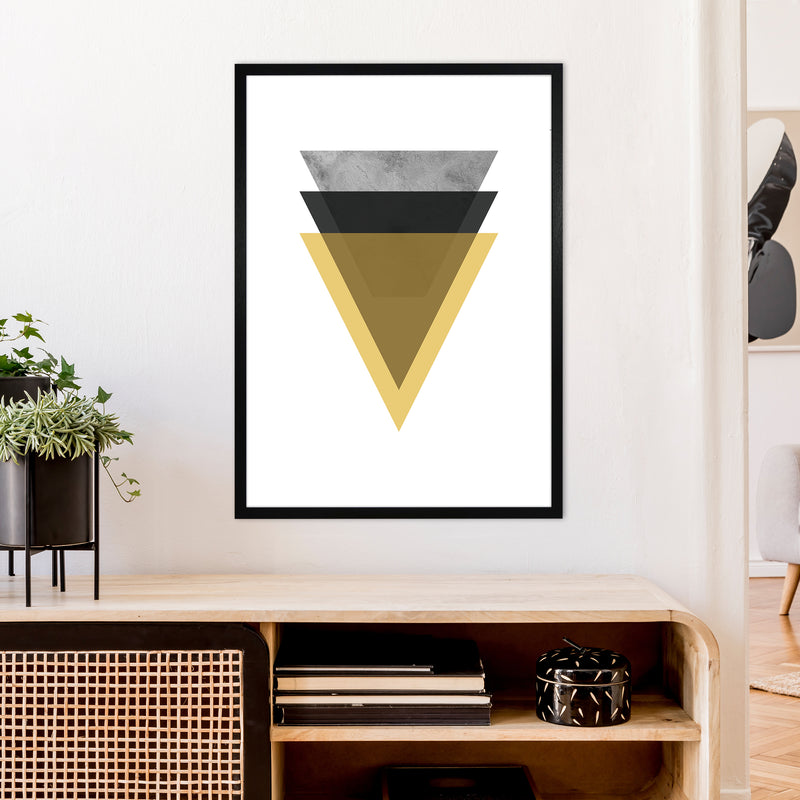 Geometric Mustard And Black Triangles  Art Print by Pixy Paper A1 White Frame