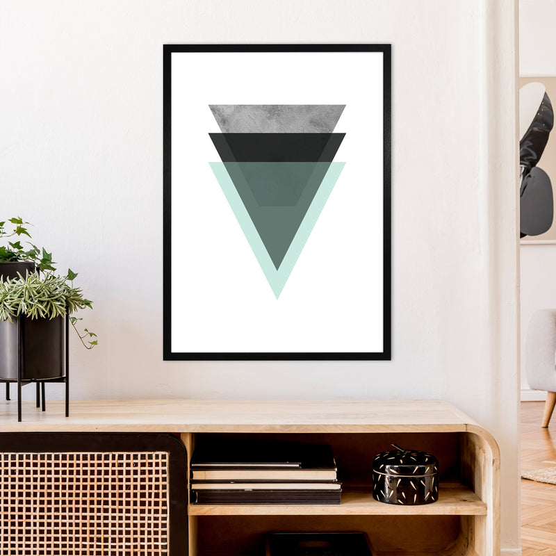 Geometric Mint And Black Triangles  Art Print by Pixy Paper A1 White Frame