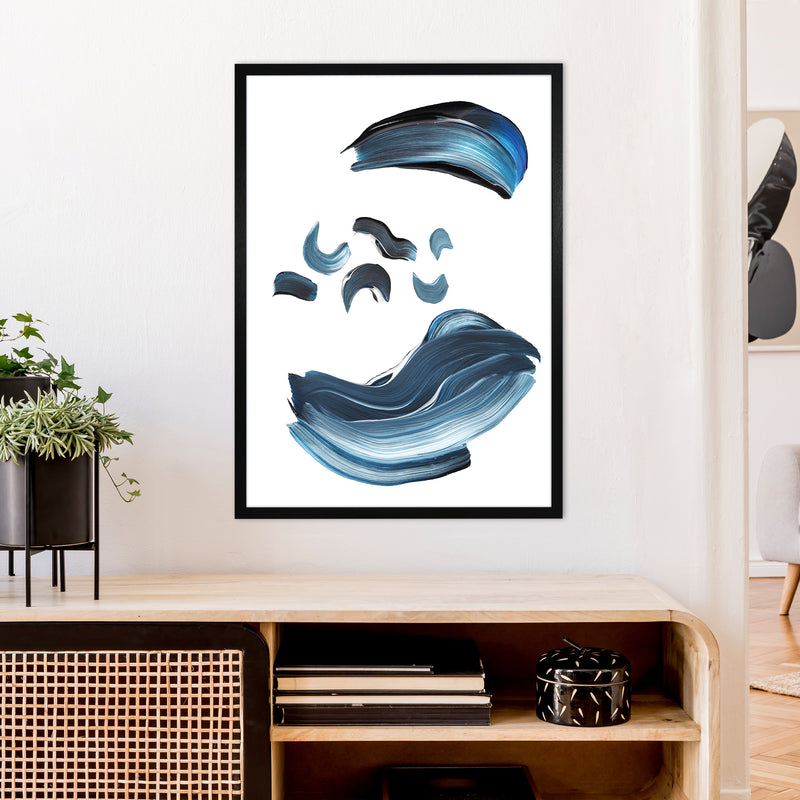 Dark Blue And Grey Paint Strokes  Art Print by Pixy Paper A1 White Frame