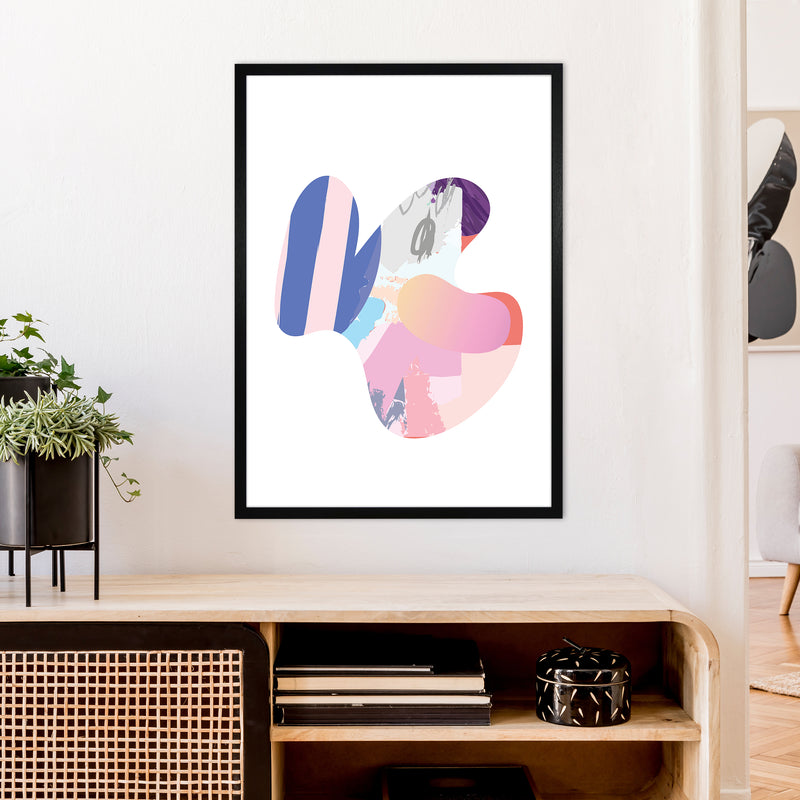 Pink Butterfly Abstract Shape  Art Print by Pixy Paper A1 White Frame
