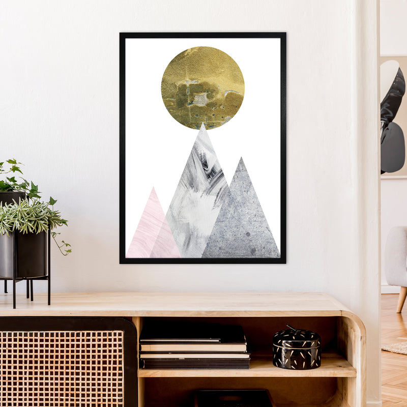 Luna Gold Moon And Mountains  Art Print by Pixy Paper A1 White Frame