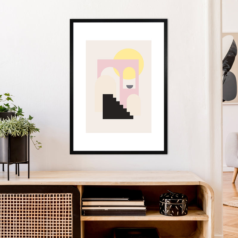 Mila Pink Stairs To Sun N6  Art Print by Pixy Paper A1 White Frame