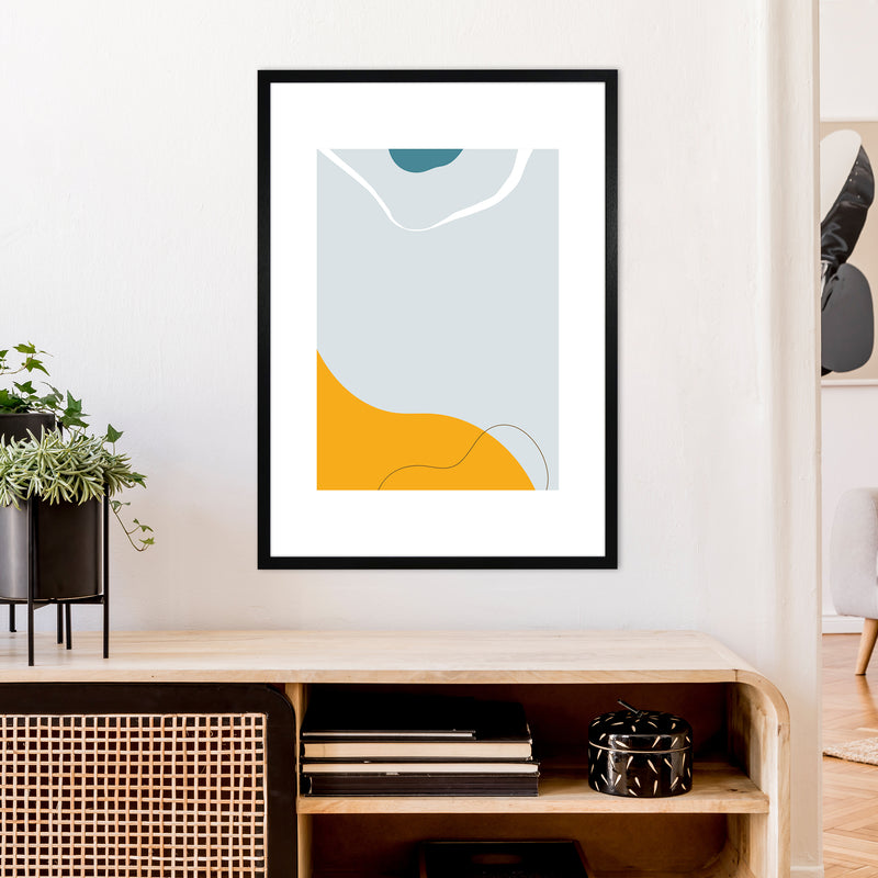 Mita Teal Abstract N21  Art Print by Pixy Paper A1 White Frame