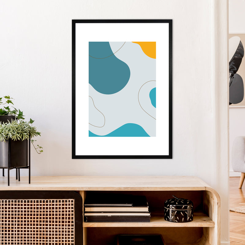 Mita Teal Abstract N16  Art Print by Pixy Paper A1 White Frame