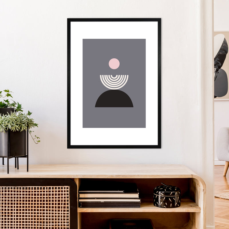 Mila Pink Fountain N9  Art Print by Pixy Paper A1 White Frame