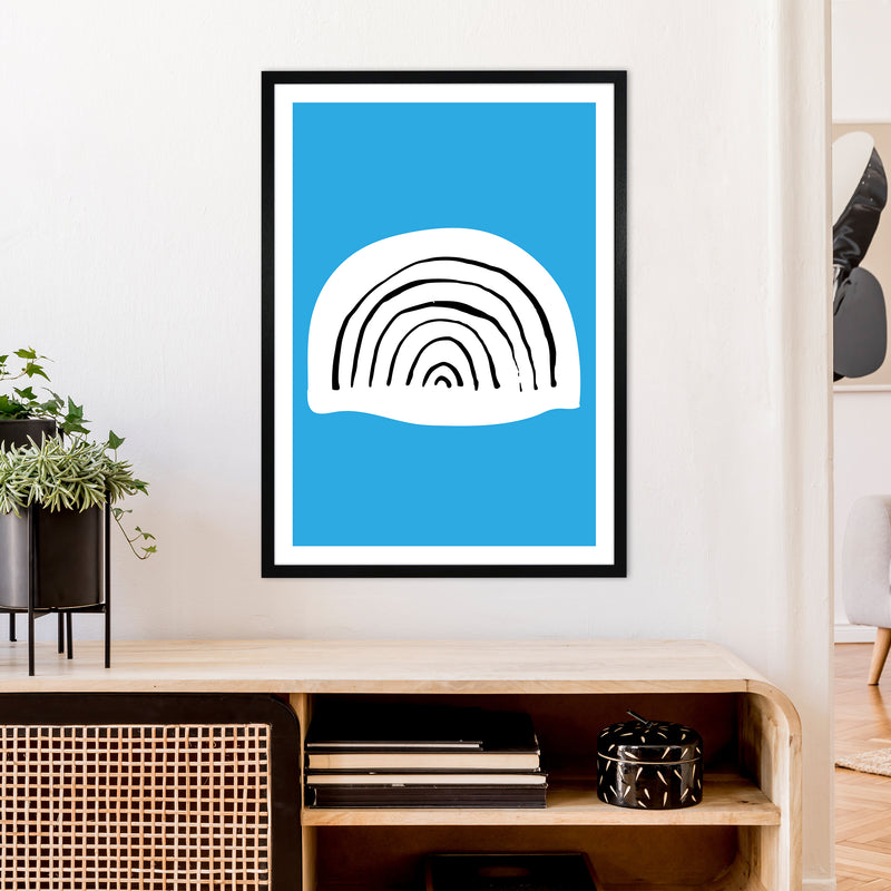 Blue Rainbow Neon Funk  Art Print by Pixy Paper A1 White Frame