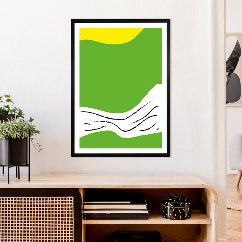 Green Lines Neon Funk  Art Print by Pixy Paper A1 White Frame