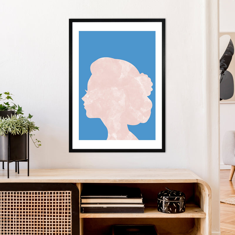 Marble Head Blue  Art Print by Pixy Paper A1 White Frame