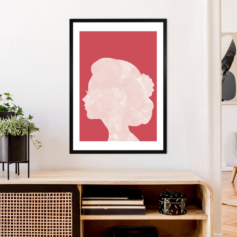 Marble Head Red  Art Print by Pixy Paper A1 White Frame