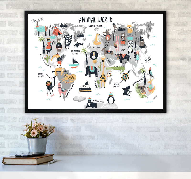 Animal World Map  Art Print by Pixy Paper A1 White Frame