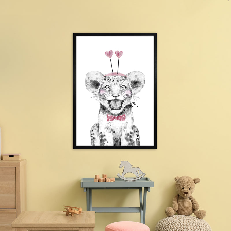 Safari Babies Tiger With Heart Hat  Art Print by Pixy Paper A1 White Frame