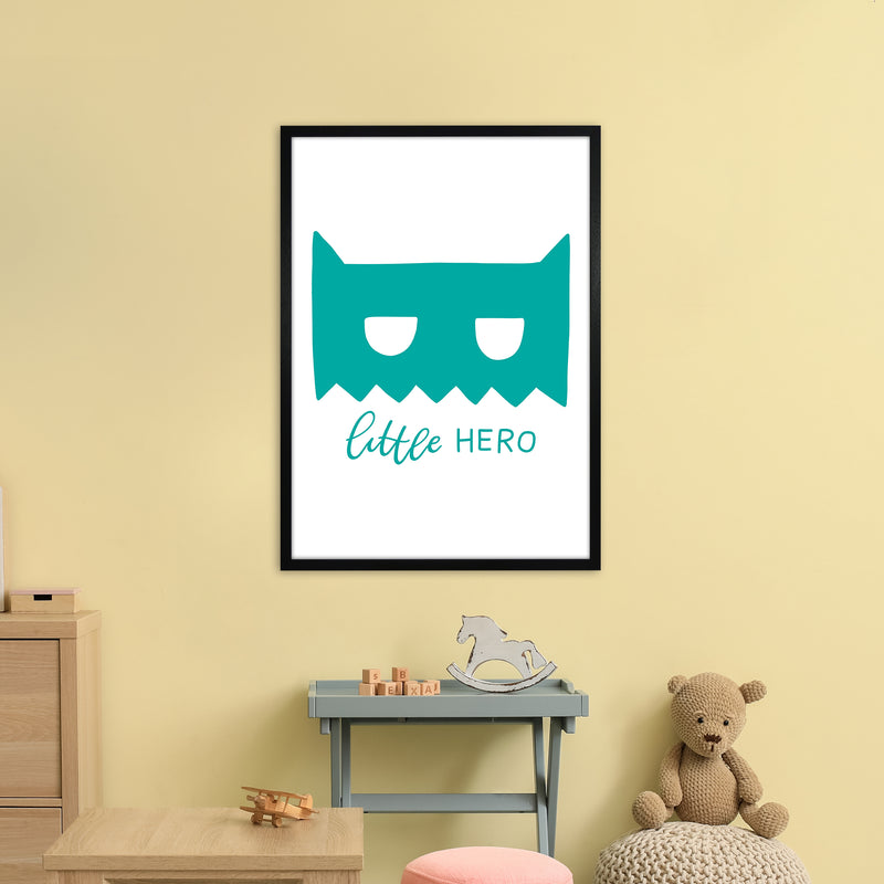 Little Hero Mask Teal Super Scandi  Art Print by Pixy Paper A1 White Frame
