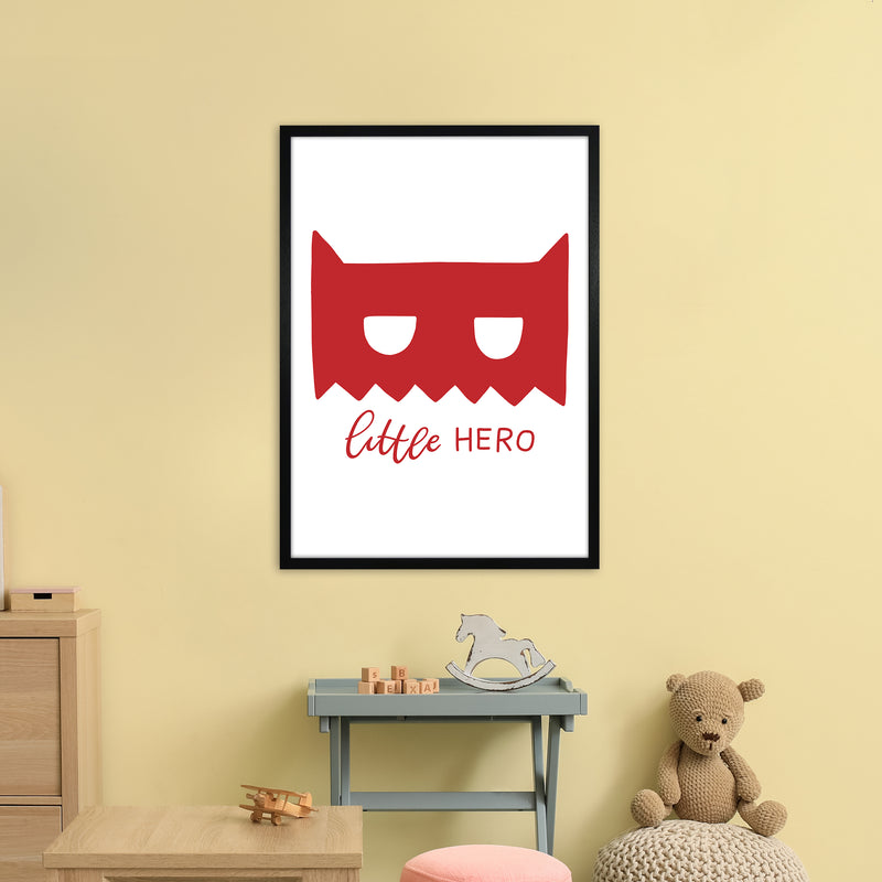 Little Hero Mask Red Super Scandi  Art Print by Pixy Paper A1 White Frame