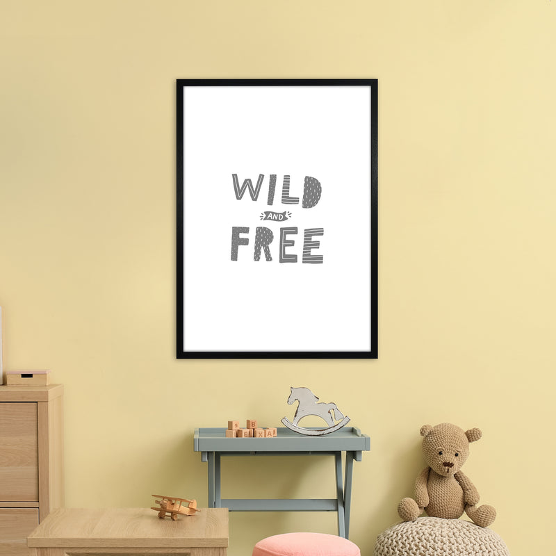 Wild And Free Grey Super Scandi  Art Print by Pixy Paper A1 White Frame