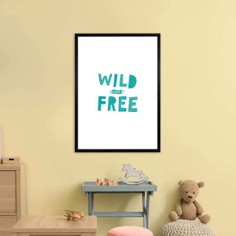 Wild And Free Teal Super Scandi  Art Print by Pixy Paper A1 White Frame