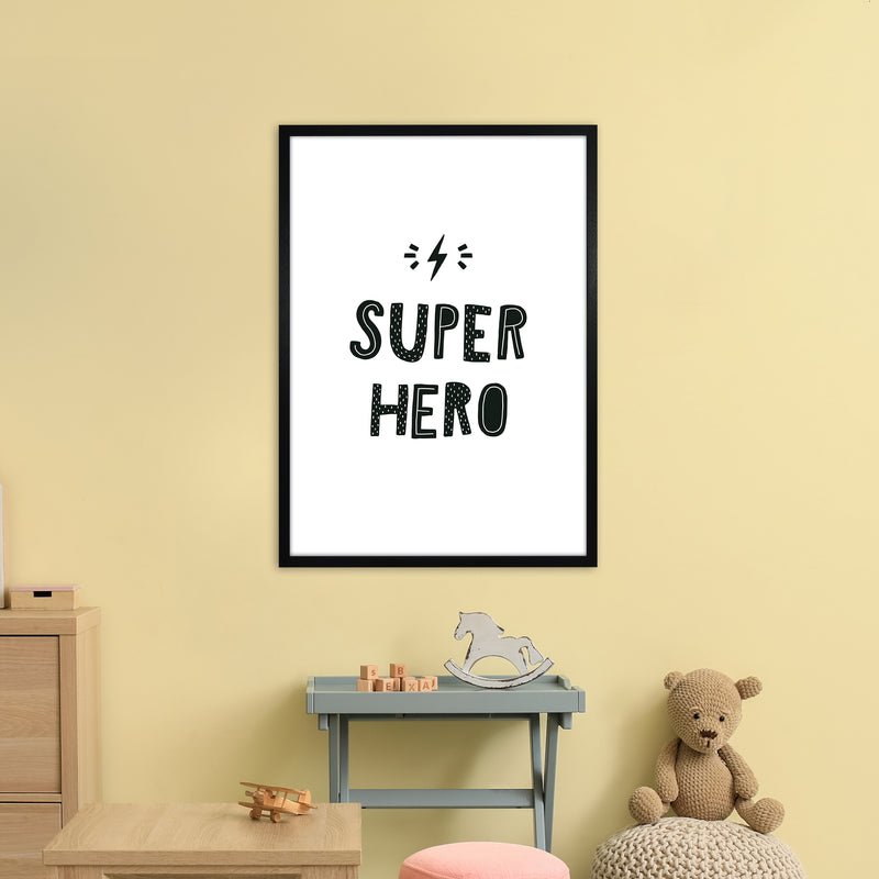 Super Hero Black Super Scandi  Art Print by Pixy Paper A1 White Frame