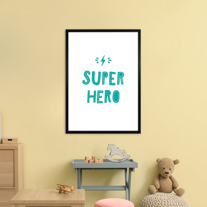 Super Hero Teal Super Scandi  Art Print by Pixy Paper A1 White Frame