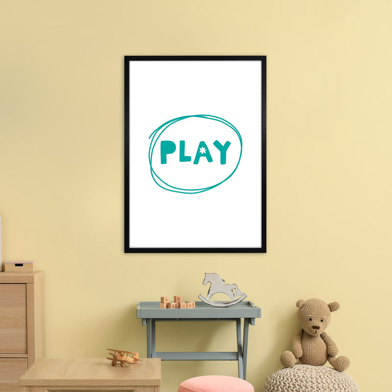 Play Teal Super Scandi  Art Print by Pixy Paper A1 White Frame