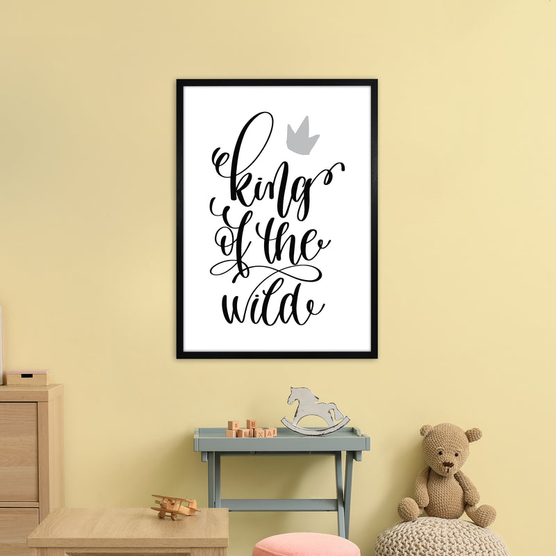 King Of The Wild Black  Art Print by Pixy Paper A1 White Frame