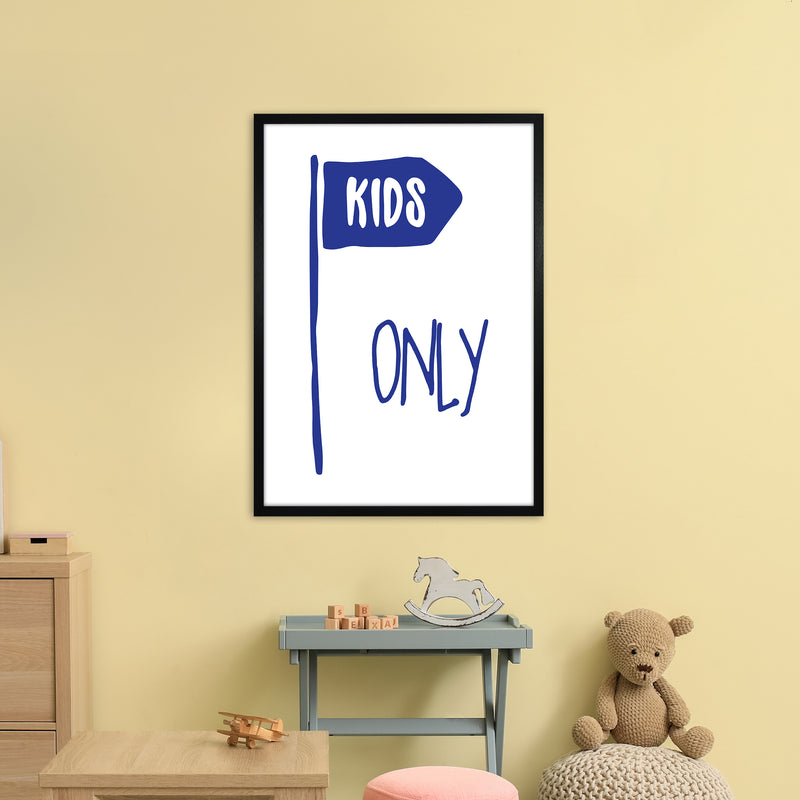 Kids Only Navy  Art Print by Pixy Paper A1 White Frame