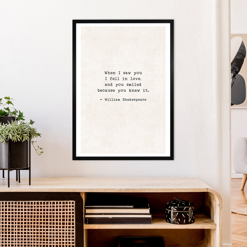 When I Saw You - Shakespeare  Art Print by Pixy Paper A1 White Frame