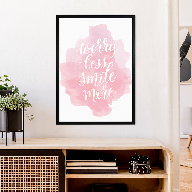 Worry Less Smile More  Art Print by Pixy Paper A1 White Frame