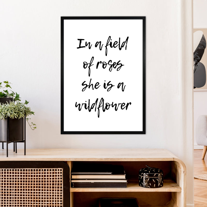 In A Field Of Roses  Art Print by Pixy Paper A1 White Frame