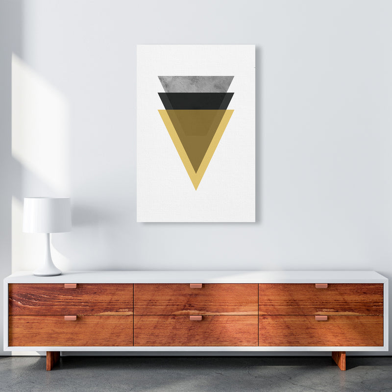 Geometric Mustard And Black Triangles  Art Print by Pixy Paper A1 Canvas