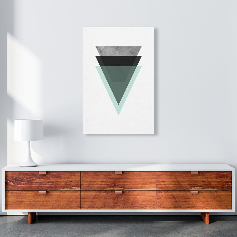 Geometric Mint And Black Triangles  Art Print by Pixy Paper A1 Canvas
