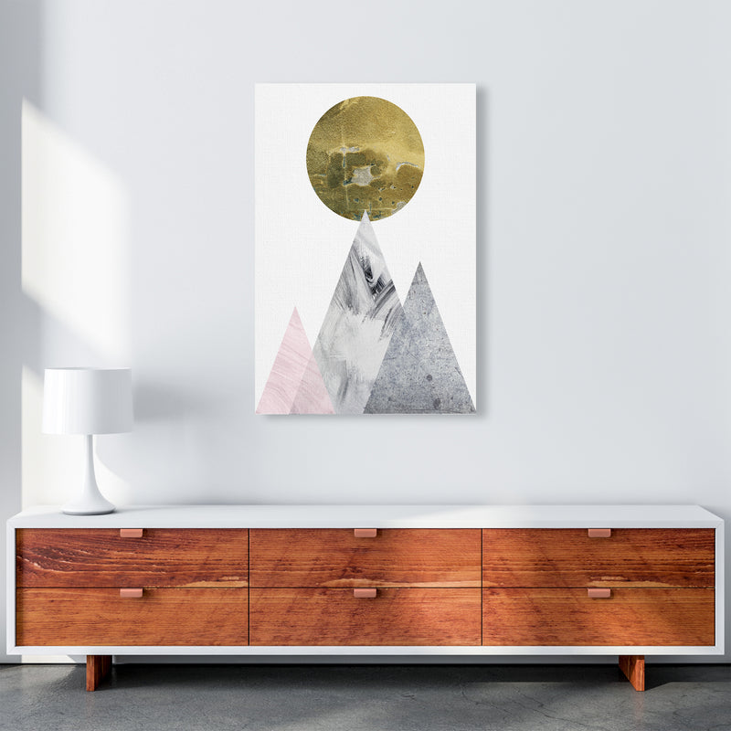 Luna Gold Moon And Mountains  Art Print by Pixy Paper A1 Canvas