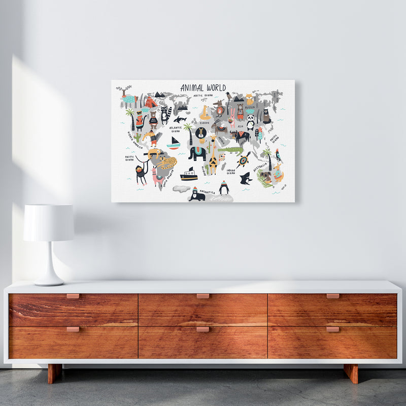 Animal World Map  Art Print by Pixy Paper A1 Canvas