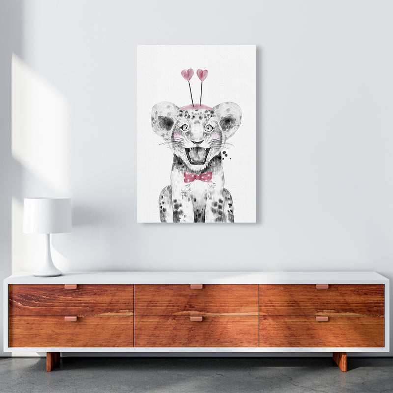 Safari Babies Tiger With Heart Hat  Art Print by Pixy Paper A1 Canvas