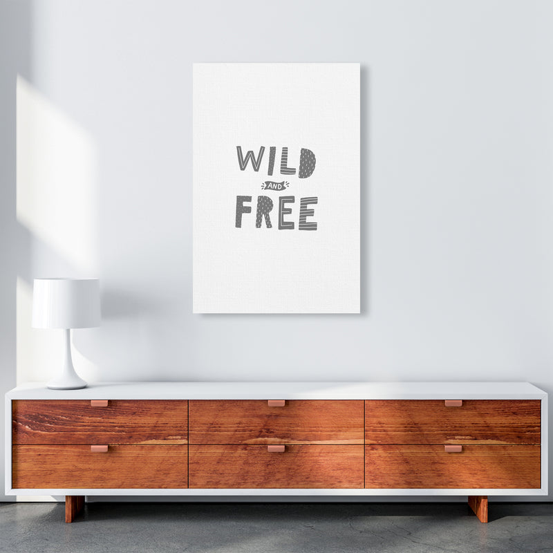 Wild And Free Grey Super Scandi  Art Print by Pixy Paper A1 Canvas