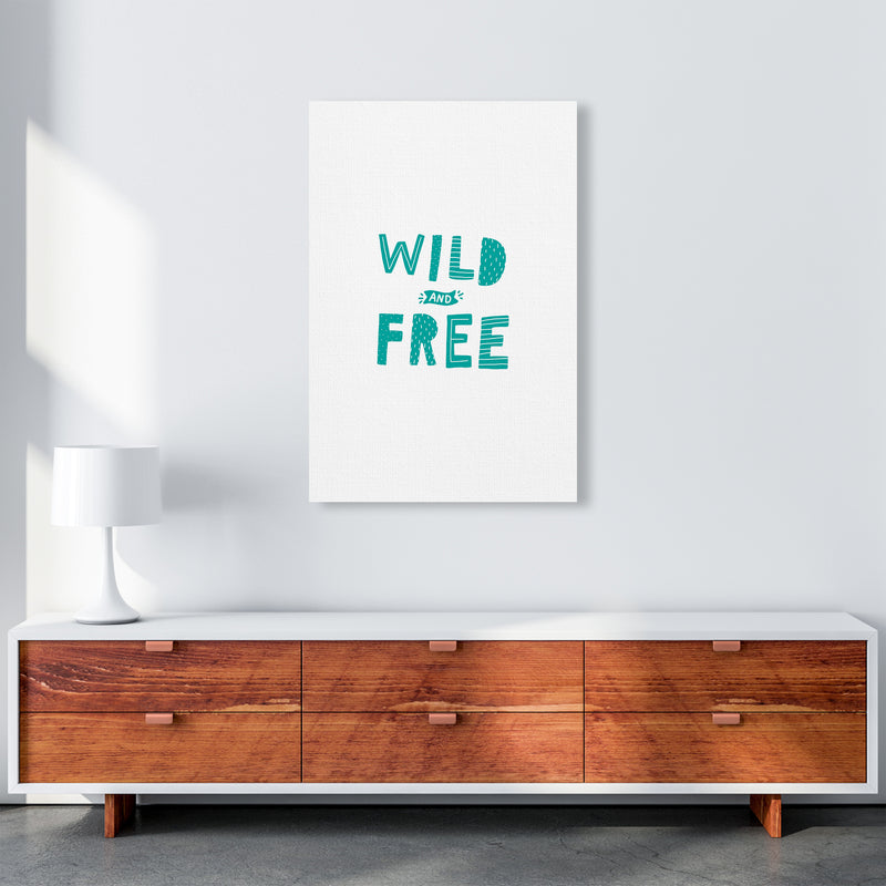 Wild And Free Teal Super Scandi  Art Print by Pixy Paper A1 Canvas