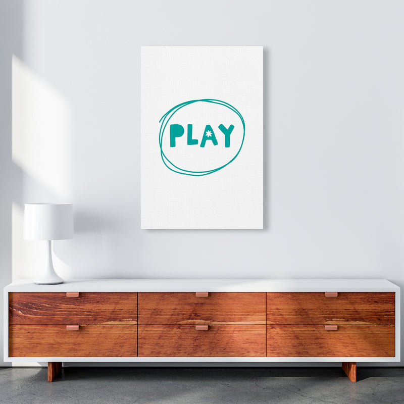 Play Teal Super Scandi  Art Print by Pixy Paper A1 Canvas