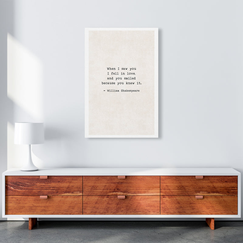 When I Saw You - Shakespeare  Art Print by Pixy Paper A1 Canvas