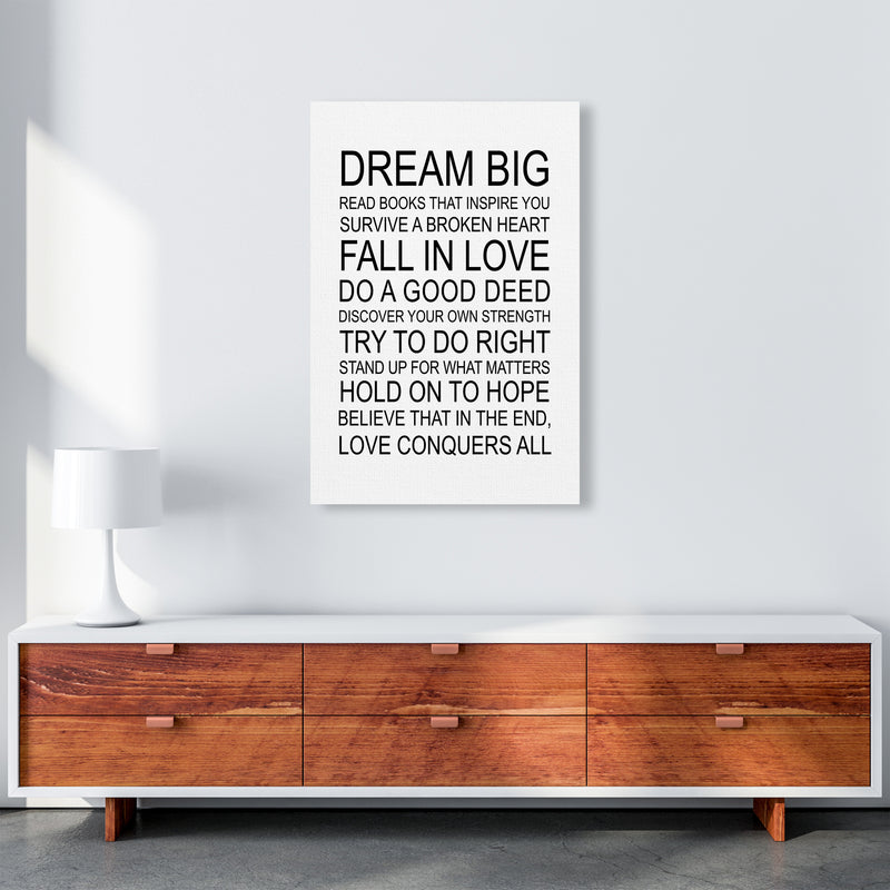 Dream Big Inspirational  Art Print by Pixy Paper A1 Canvas