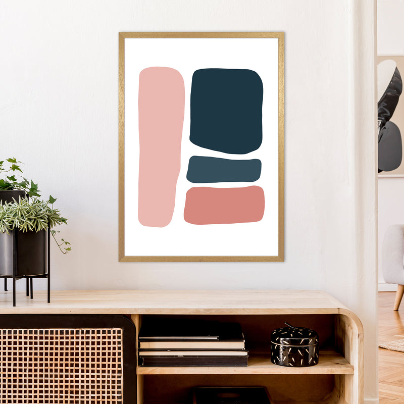 Pink And Navy Abstract Stones 3 Art Print by Pixy Paper A1 Print Only