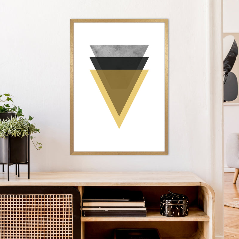 Geometric Mustard And Black Triangles  Art Print by Pixy Paper A1 Print Only