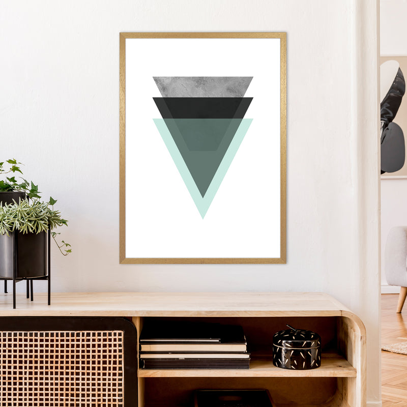 Geometric Mint And Black Triangles  Art Print by Pixy Paper A1 Print Only
