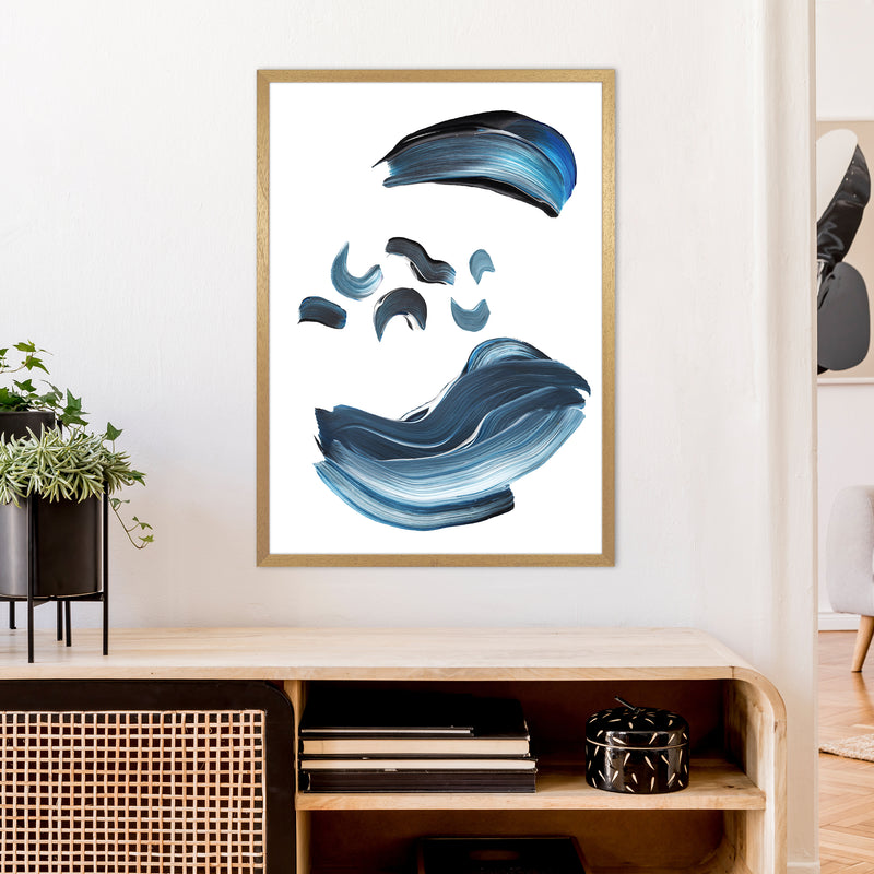 Dark Blue And Grey Paint Strokes  Art Print by Pixy Paper A1 Print Only