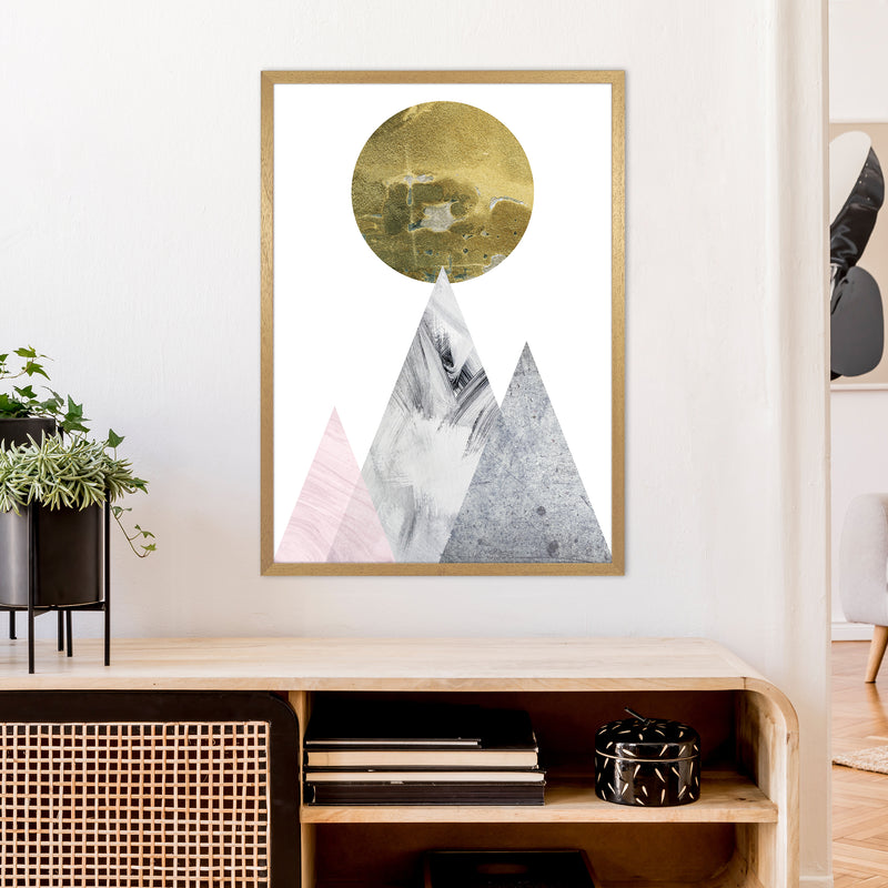 Luna Gold Moon And Mountains  Art Print by Pixy Paper A1 Print Only
