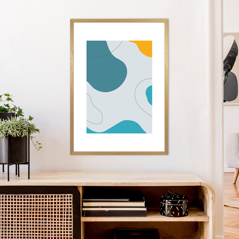 Mita Teal Abstract N16  Art Print by Pixy Paper A1 Print Only
