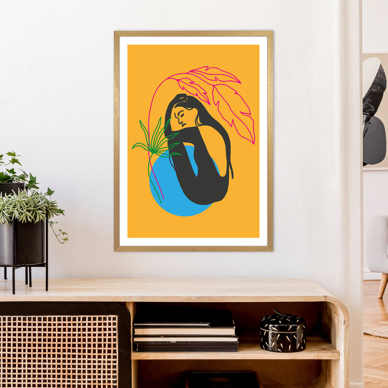 Girl Under Plant Yellow Neon Funk  Art Print by Pixy Paper A1 Print Only