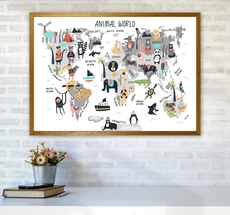 Animal World Map  Art Print by Pixy Paper A1 Print Only