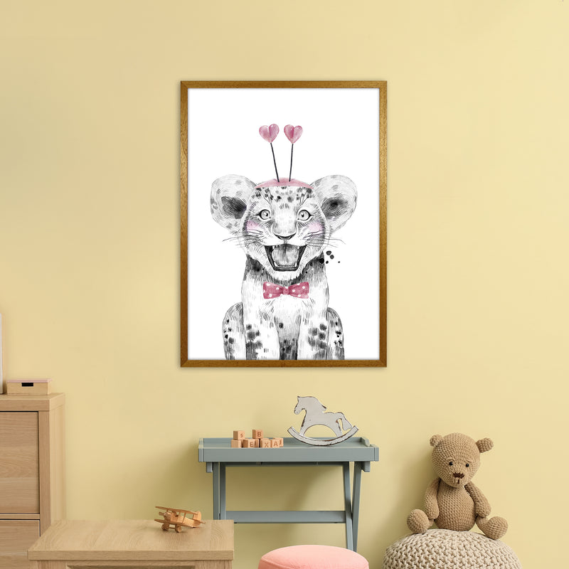 Safari Babies Tiger With Heart Hat  Art Print by Pixy Paper A1 Print Only
