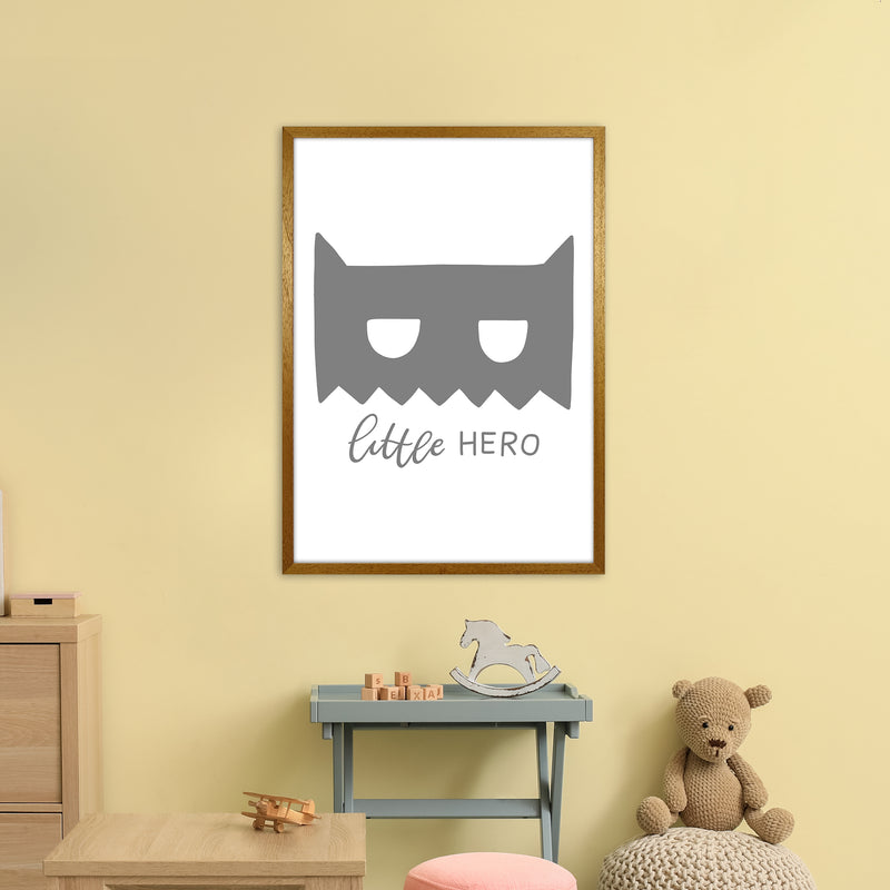 Little Hero Mask Super Scandi Grey  Art Print by Pixy Paper A1 Print Only