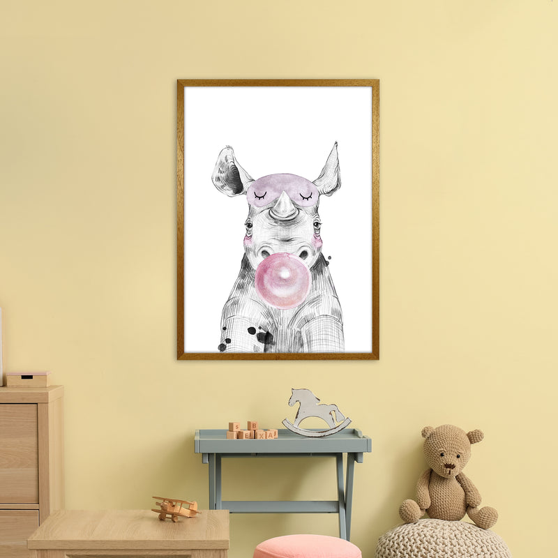 Safari Babies Rhino With Bubble  Art Print by Pixy Paper A1 Print Only