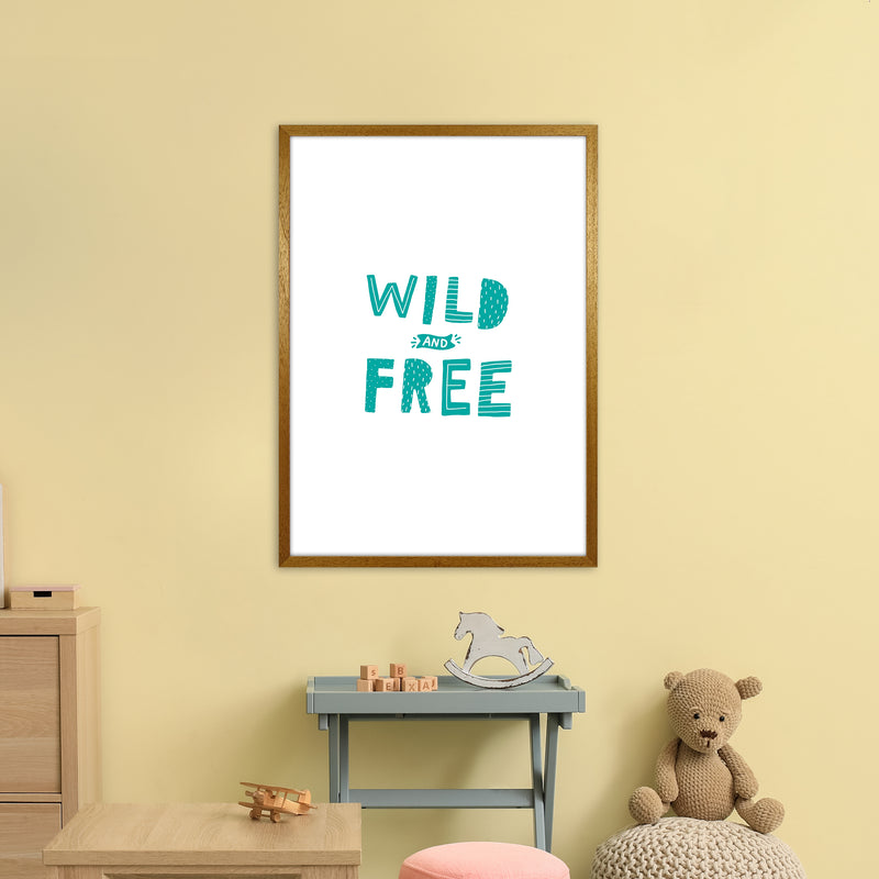 Wild And Free Teal Super Scandi  Art Print by Pixy Paper A1 Print Only