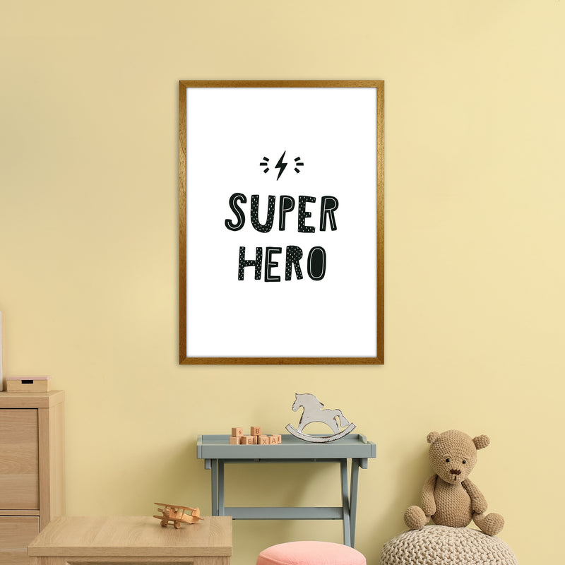Super Hero Black Super Scandi  Art Print by Pixy Paper A1 Print Only